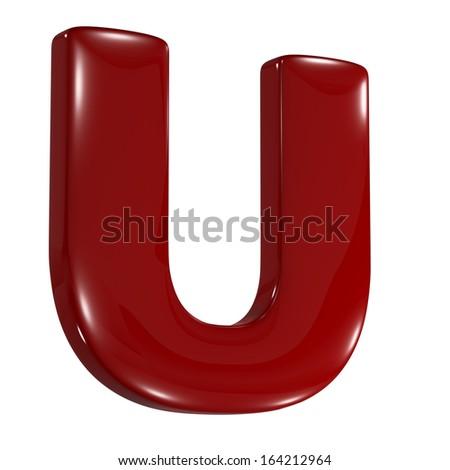 3d shiny matt red font made of plastic or ceramic - U letter - stock photo
