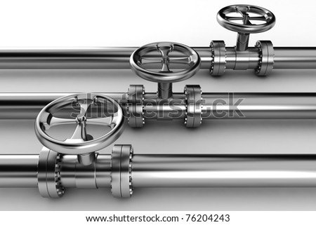 3d shiny pipelines on white background - stock photo