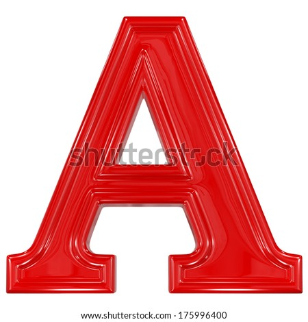 3d shiny red font made of plastic or ceramic - A letter - stock photo