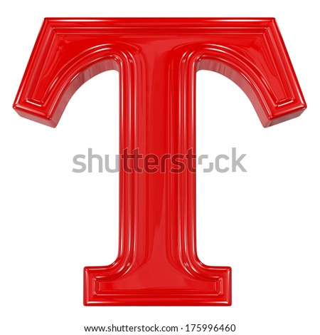 3d shiny red font made of plastic or ceramic - T letter - stock photo