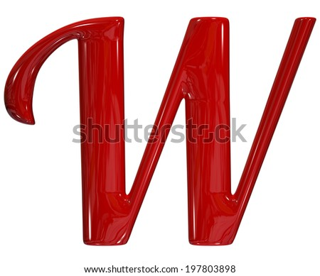 3d shiny red font made of plastic or ceramic - W letter - stock photo
