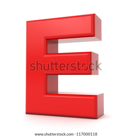 3d shiny red letter collection - E - stock photo