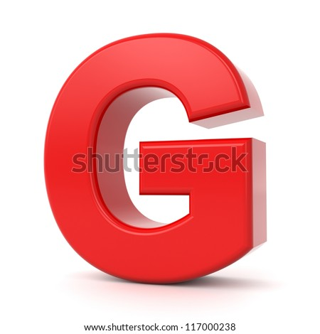 3d shiny red letter collection - G - stock photo