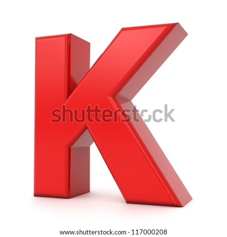 3d shiny red letter collection - K - stock photo