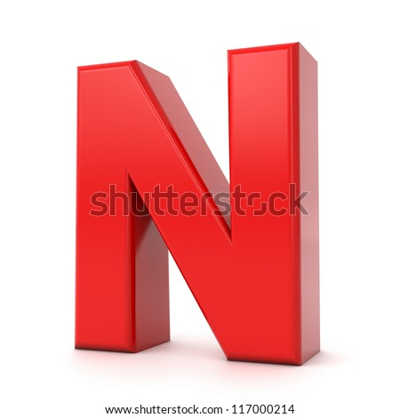 3d shiny red letter collection - N - stock photo