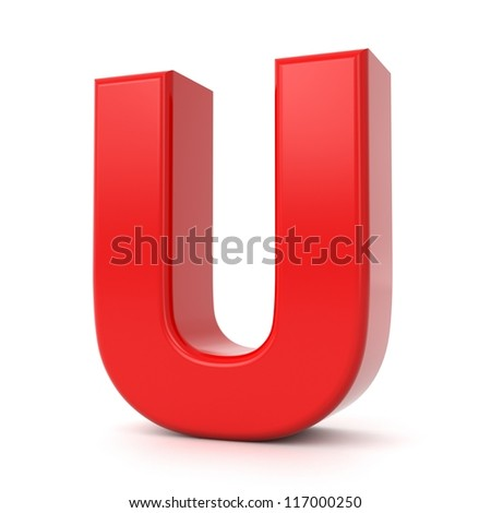 3d shiny red letter collection - U - stock photo