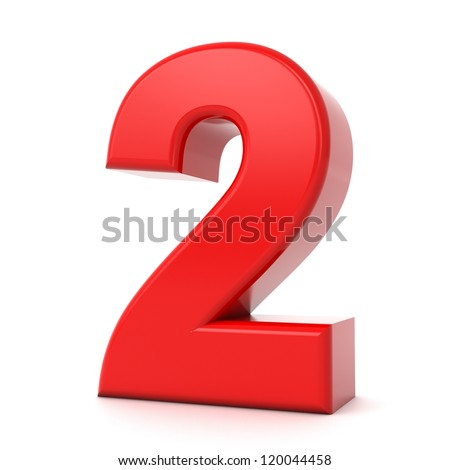 3d shiny red number collection - 2 - stock photo