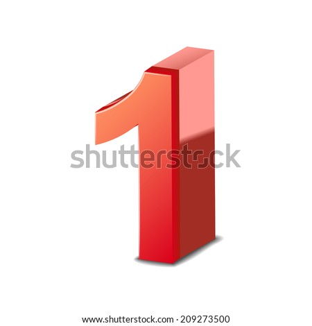 3d shiny red number 1 isolated on white background