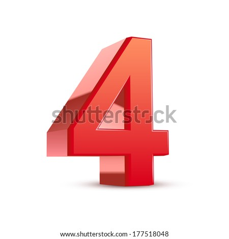 3d shiny red number 4 on white background - stock photo