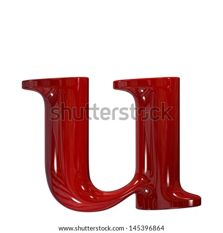 3d shiny red plastic ceramic letter collection - u - stock photo