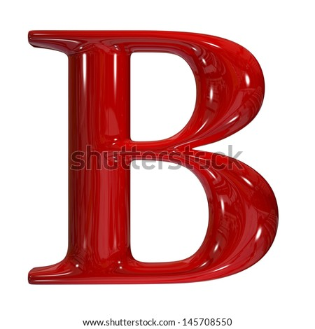3d shiny red plastic ceramic uppercase letter - B - stock photo