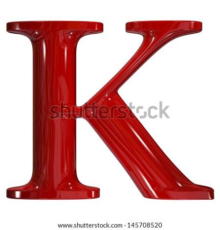 3d shiny red plastic ceramic uppercase letter - K - stock photo
