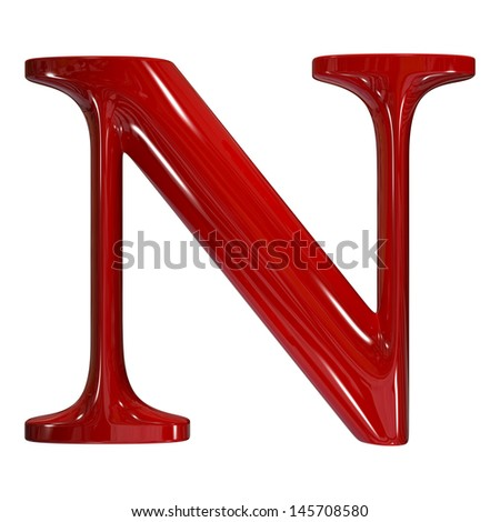 3d shiny red plastic ceramic uppercase letter - N - stock photo