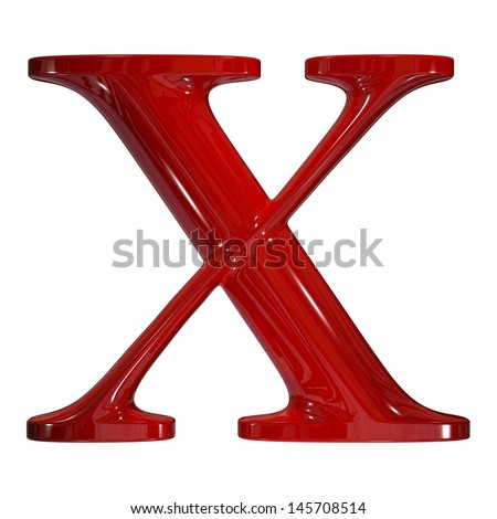 3d shiny red plastic ceramic uppercase letter - X - stock photo