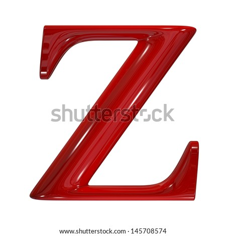 3d shiny red plastic ceramic uppercase letter - Z - stock photo