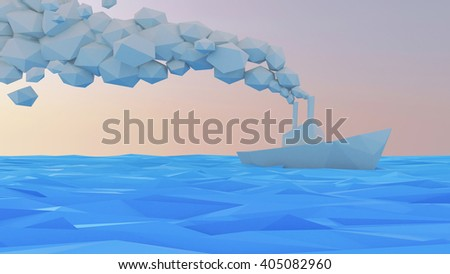 3D Ship Lowpoly Style - stock photo