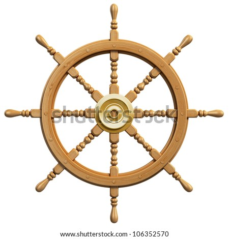 3d ship wheel isolated on white background - stock photo