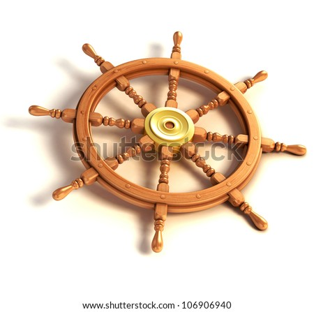 3d ship wheel isolated on white background - stock photo