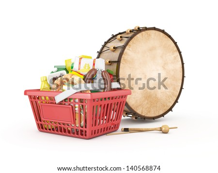 3d shopping basket and ramadan drum - isolated - stock photo