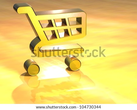 3D Shopping Card Gold Sign over yellow background - stock photo