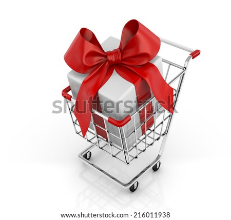 3d shopping cart and gift - stock photo