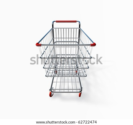 3D Shopping Cart Front View - stock photo