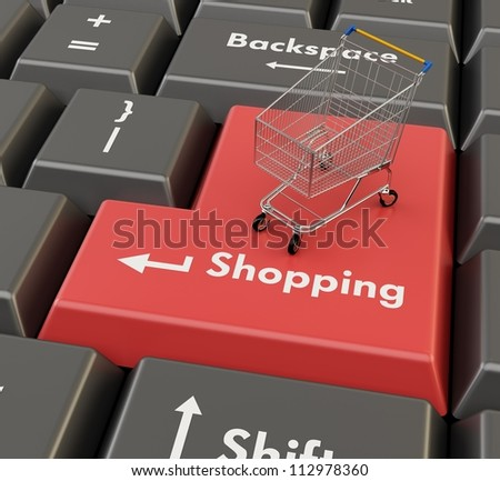 3d shopping cart on red enter - e-shop concept - stock photo