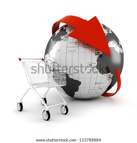 3d shopping cart, online commerce concept - stock photo