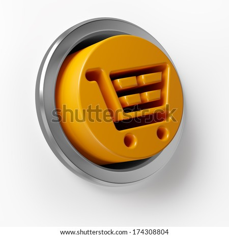 3D Shopping Cart Push Button - stock photo