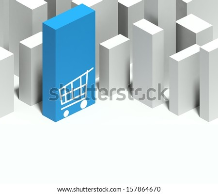 3d shopping cart symbol in conceptual model of miniature city with distinctive skyscraper, Background and copyspace