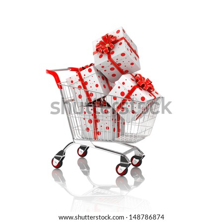 3d shopping cart with gift boxes, isolated on white background - stock photo