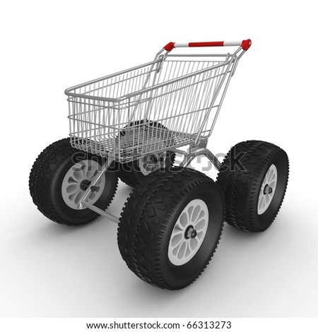 3d shopping push cart isolated on white - stock photo