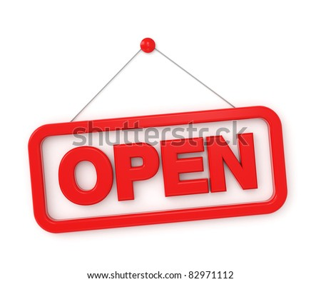 3d shopping sign board - open