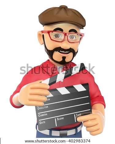 3d show business people. Film director with a clapperboard. Isolated white background. - stock photo