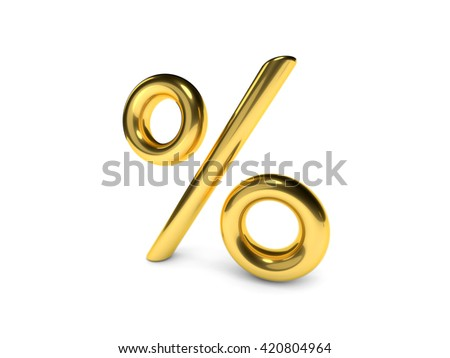 3D sign of golden percent on a white background - stock photo
