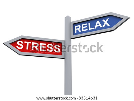 3d sign of relax and stress - stock photo