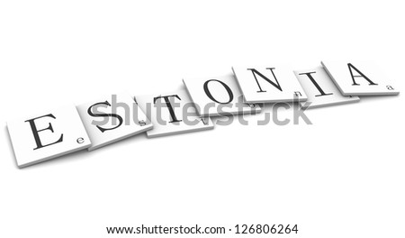 3D Signs word: Estonia - stock photo