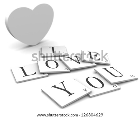 3D Signs word: Love You