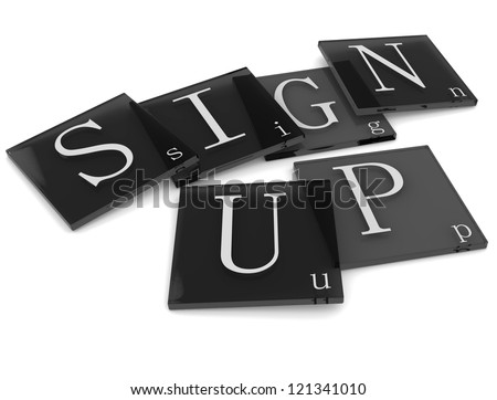 3D Sigs Word Sign Up - stock photo