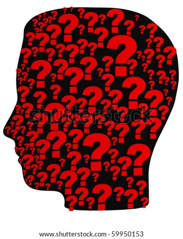3D silhouette head with a lot of questions. - stock photo