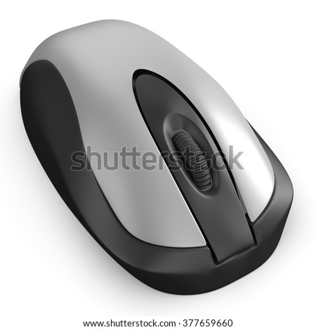 3d silver computer mouse isolated on white background
