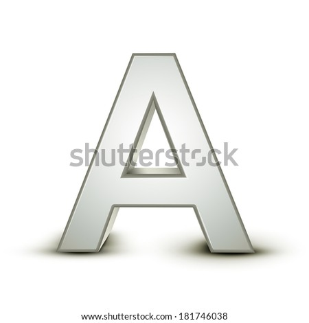 3d silver letter A isolated white background - stock photo