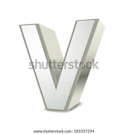 3d silver letter V isolated white background