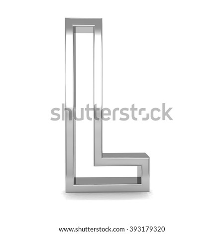 3d silver metal frame letter L rendering with metallic empty line shiny alphabet - stock photo