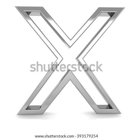 3d silver metal frame letter X rendering with metallic empty line shiny alphabet - stock photo