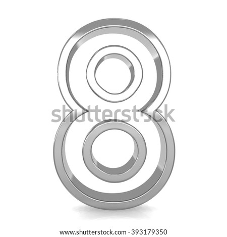 3d silver metal frame number 8 eight rendering with metallic empty shiny line - stock photo