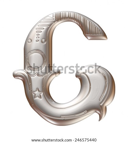 3D silver metallic illustration of an English alphabet letter C in graphic style with ornaments on isolated white background. - stock photo