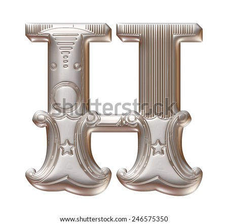3D silver metallic illustration of an English alphabet letter H in graphic style with ornaments on isolated white background. - stock photo