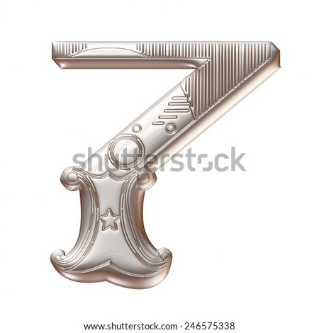 3D silver metallic illustration of an English number 7 in graphic style with ornaments on isolated white background. - stock photo
