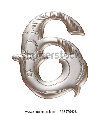 3D silver metallic illustration of an English number 6 in graphic style with ornaments on isolated white background. - stock photo